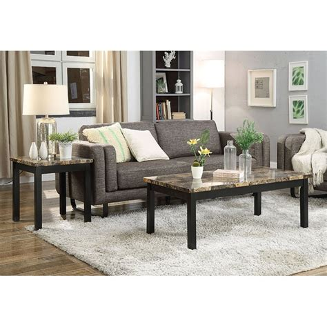 Monroe 3 pcs coffee table set for. ACME Finely II 3 Piece Faux Marble Top Coffee Table Set in Dark Brown 840412165924 | eBay