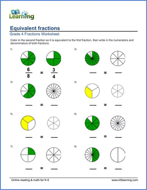grade 4 fractions worksheets coloring in equivalent