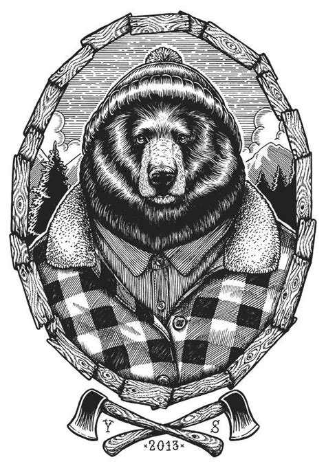 Magazine - Stéphane Casier's Personified Creatures in 2019   Bear tattoos, Tattoo designs