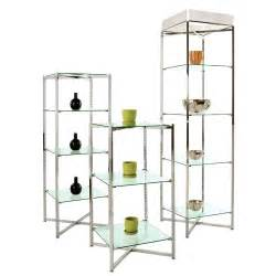 Metal Etagere Tower by Adjustable 5 Shelf Glass Etagere