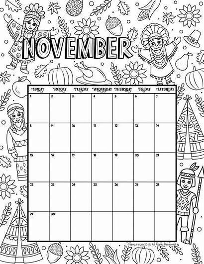 November Calendar Coloring Printable Woojr Activities Jr