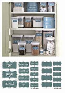 Organize a baking cabinet with free printable pantry labels for Best brand of paint for kitchen cabinets with bakery stickers