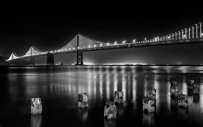 Francisco San Bridge Night Bay 4k Monochrome