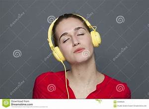 Peaceful 20s Girl For Trendy Headphones Concept Stock ...