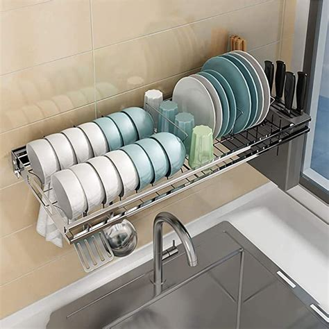 amazoncom colture   sink dish drying rack hanging stainless steel dish drainer dryer