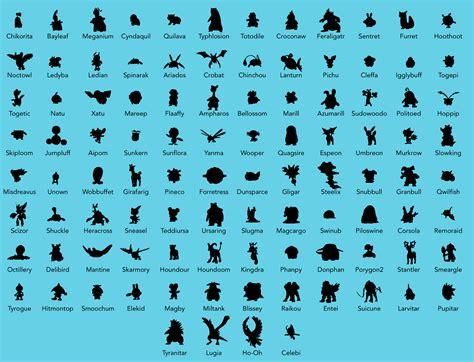 pokemon  complete pokedex silhouette reference chart