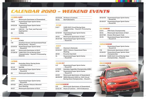 racing calendar  morgan park raceway warwick district