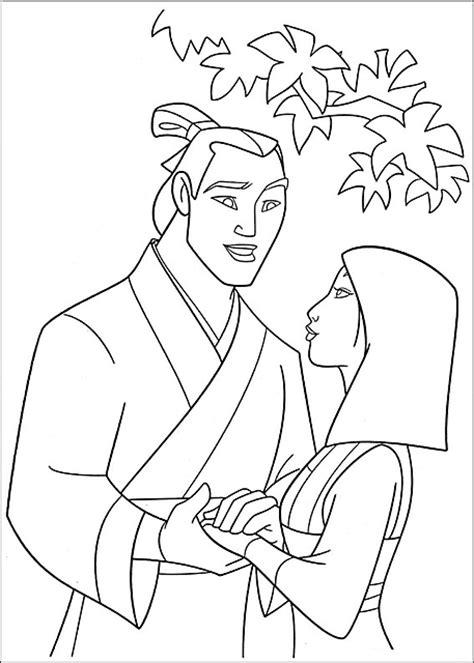 disegni della disney a punto croce disegni da colorare mulan e shang risorse categoria
