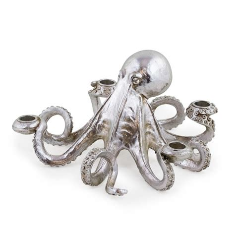 octopus candle holder octopus candlestick candle holder silver hurn and hurn