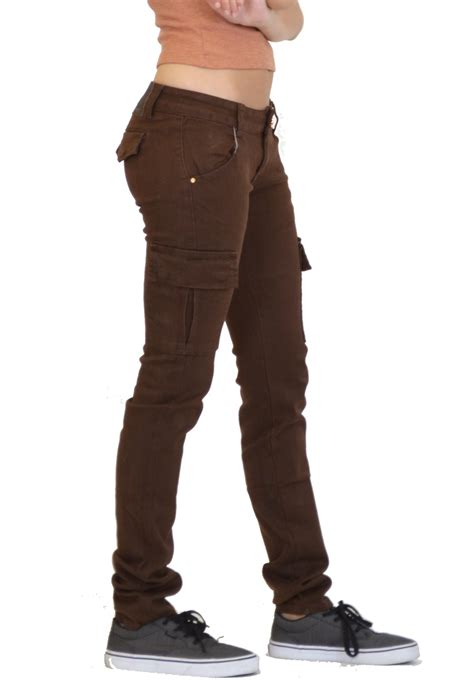 New Womens Ladies Slim Fitted Stretch Combat Jeans Pants ...
