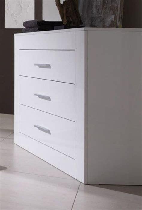 commodes chambres commode 3 tiroirs amalfi chambre à coucher blanc brillant