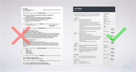 one page resume busines analyst business analyst resume sle complete guide 20