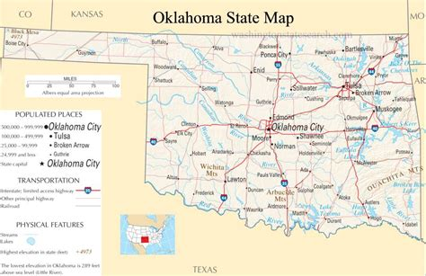 oklahoma state map  large detailed map  oklahoma