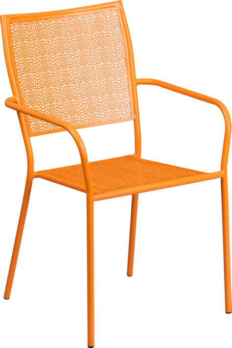 bellina orange outdoor patio arm chair with eased square