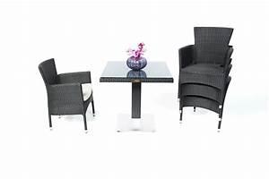 Gartentisch Mit 2 Stühlen : rattan m bel gartentisch balcony und st hle california schwarz ~ Frokenaadalensverden.com Haus und Dekorationen