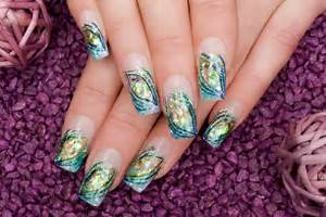 Dress fancy printed acrylic nail designs