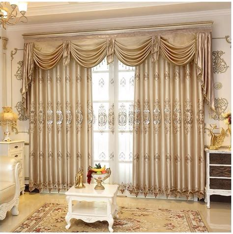 set luxurious jacquard curtains  living room window