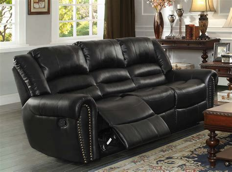 cheap black leather recliner sofas center hill double reclining nailhead sofa in black bonded