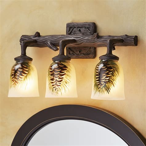 rustic lamps painted glass pine cone  light vanity light