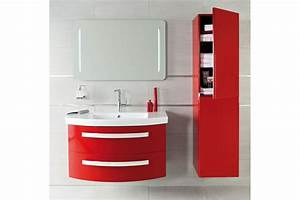 meuble de salle de bain suspendu nice day en 80 cm rouge With meuble salle de bain suspendu 80 cm