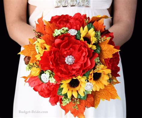 fall sunflower western wedding flowers  red peonies
