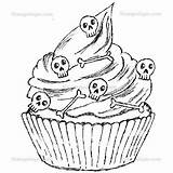 Skull Cupcake Halloween Cupcakes Coloring Pages Stampotique Digi Stamp Stamps Browse sketch template