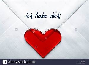 love letter with a heart and the message quotich liebe dich With love letter within heart