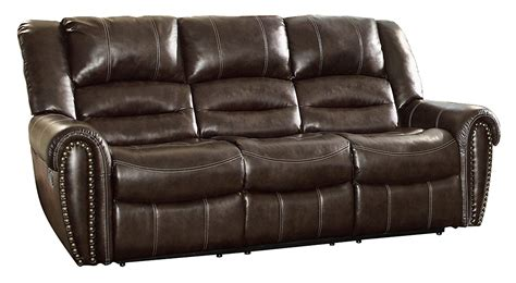 apartment size reclining sofa homelegance 9668brw 3 double reclining sofa home