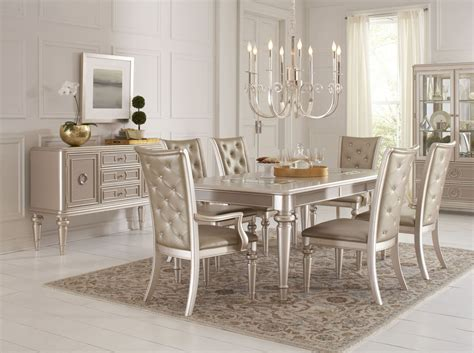 Dining Room Sets : Dynasty Gold Metallic Extendable Rectangular Leg Dining