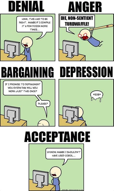 Coding Memes - the five stages of programming grief humorous comic how to geek fun pinterest grief