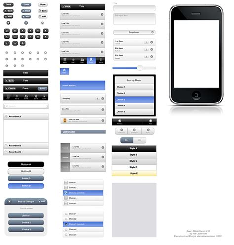 Jquery Ui Mobile by Jquery Mobile Ui Elements Omnigraffle Stencil Mobile
