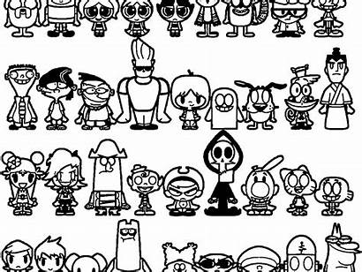 Coloring Cartoon Pages Characters Network 90s Printable