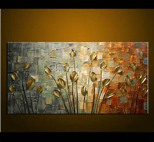 Hand made oil painting palette knife thick paint golden