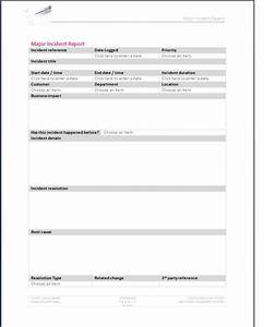 major incident form template With itil incident report form template