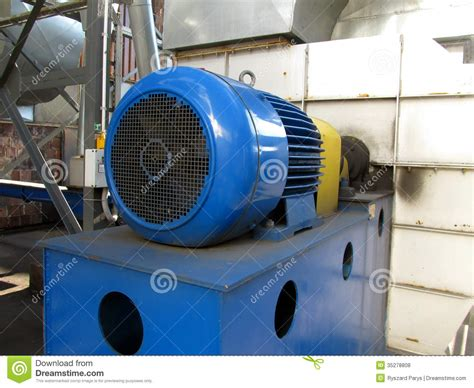 Largest Electric Motor by Large Electric Motor Of Blue Color As The Drive To The Fan