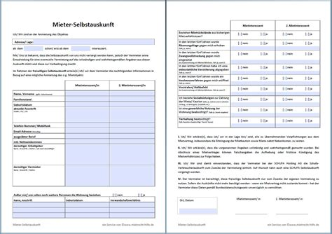 Schufa Auskunft Für Vermieter Kostenlos by Selbstauskunft Mieter Muster Zum