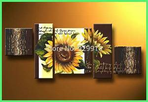 best 28 sunflower kitchen decor with painted With best brand of paint for kitchen cabinets with floral wall art canvas