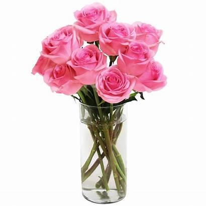 Vase Roses Bouquet Pink Flowers Glass Dozen