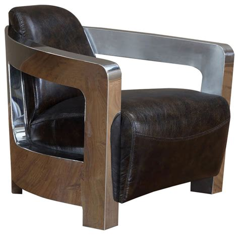 leonard stainless steel coupe leather chair modern