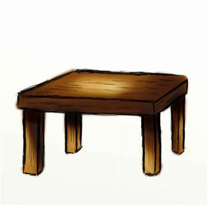 Table Clipart Cartoon Wooden Brown Drawing Pencil