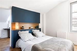 Tete De Lit Bleu : chambre parentale avec tete de lit bleu nuit parquet et ~ Premium-room.com Idées de Décoration