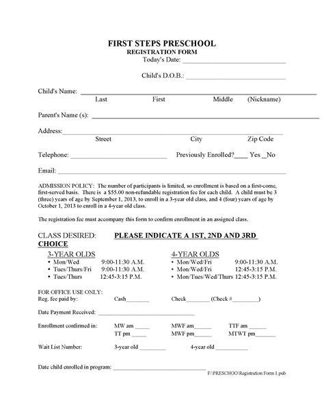application form kindergarten application form template 128 | Preschool Registration Form 2013 II