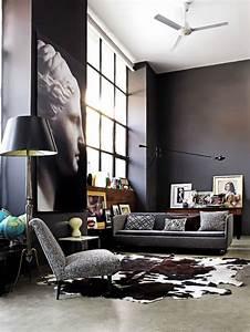 le tapis de salon dans quelques mots et beaucoup de photos With tapis peau de vache avec canapé moderne gris