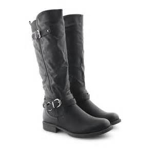 womens boots calf womens wide calf stretch mid calf knee casual boots shoes size ebay
