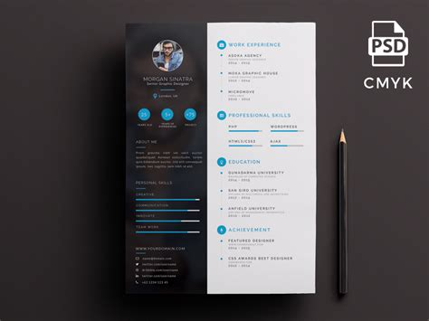 creative resume template  psd ui