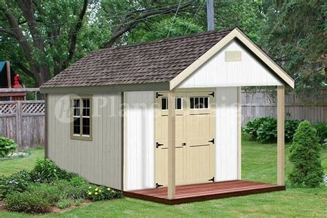 Shed With Porch by 16 X 12 Cabin Shed Covered Porch Plans Plueprint P61612