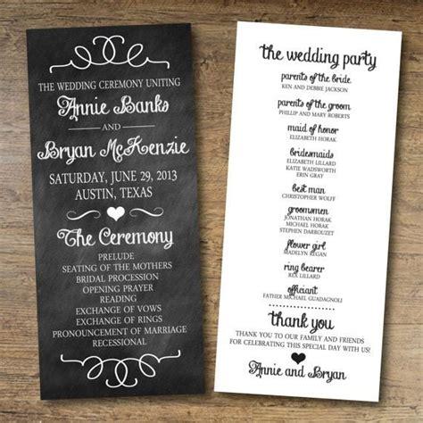 chalkboard wedding program  printable wedding
