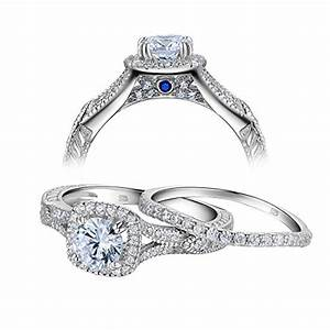 newshe women vintage white cubic zirconia 925 sterling With size 10 wedding ring sets