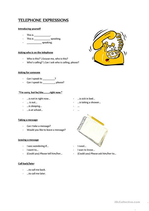 esl telephone worksheets