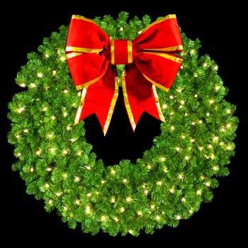 60 inch lighted outdoor christmas wreath large wreaths 60 quot pre lit mountain pine wreath with 30 quot 3 d structural bow 300
